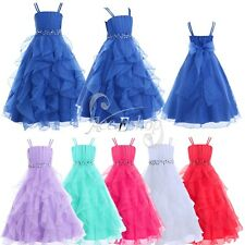 Girls Organza Flower Princess Pageant Wedding Bridesmaid Formal Party Kids Dress