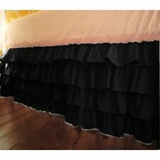 1 Qty Multi Ruffle Bed Skirt Egyptian Cotton Black Solid 1000 TC Drop 8-30''