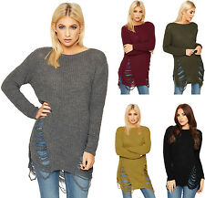 Womens New Distressed Jumper Ladies Cable Knit Long Sleeve Ripped Top New 8-14