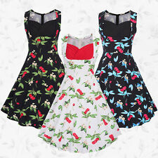 NEW Women Ladies Cherry Vintage Floral Print Prom Pin UP Hepburn 1950s Tea Dress