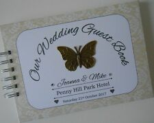 Personalised Vintage WEDDING Guest Book Photo Album Ivory Cream Bronze Butterfly