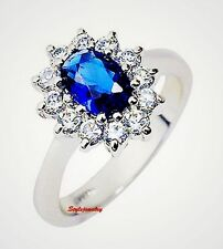 White Gold Plated Women Oval Engagement Ring Made With Blue Swarovski Crystal R9