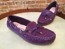 Isaac Mizrahi Purple Snakeskin Driving Moccasins Flats Wide New