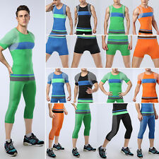Men Gym Compression Base Layer Shorts Pants Tights Sports Tank Top Tee 2pcs Set