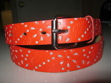 New Womens Ladies Red Genuine Leather Belt NWT S M L XL Silver Sparkles & Buckle
