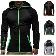 Men Long Sleeve Running Sweatshirt Gym Hooded Pullover Zip Up Sports Training G