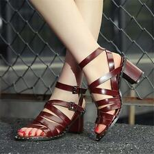 Hot Womens Roman Gladiator Cow Leather Strappy Sandals Party Pumps Summer Shoes