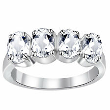 Orchid Jewelry 925 Sterling Silver 2 2/5 Carat White Topaz Anniversary Ring