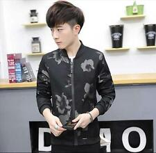 Mens Coats Jackets Slim Long Sleeve Zipper Floral Casual Coat Outerwear Tops