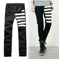 Fashion Men's Korean Slim Fit Skinny Jeans Punk star print Casual Trousers New @