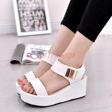 Ladies Womens Shoes Sandals Wedge Heels Pu Leather High Platform shoes new