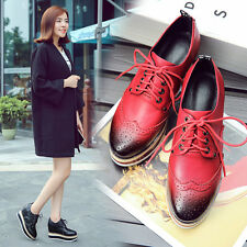 Womens Stylish Wing Tip lace up platforms high wedges heels 10CM casual shoes Sz