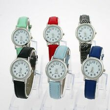 6 Color Choose Fashion White Dial Leather Lady Girl's Gift Quartz Wristwatch U12