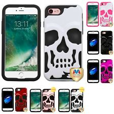 For Apple iPhone 7 [4.7] Hybrid Skull Skeleton Impact Hard Soft Case Cover