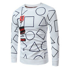 Mens T Shirt Hoodie Casual Print Long Sleeve T-Shirt Jersey O-Neck Pullover Tops