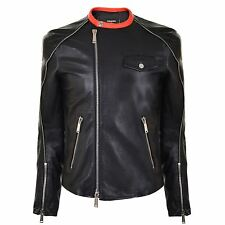 Dsquared2 Mens Black Leather Jacket Zips Brand New BNWT 48 £1895