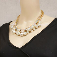 Crystal Rhinestone Pearl Cluster Chunky Bib Statement Collar Necklace Choker