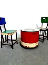 vintage patio set, industrial oil drum patio set, vintage table and chairs,