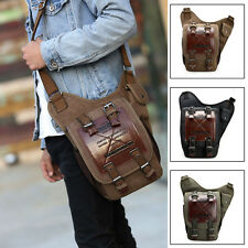Men's Vintage Canvas Shoulder Bag Military Patchwork Messenger Carry Bag