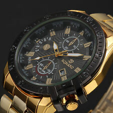 Luxury Mens Black Dial Gold Stainless Steel Quartz Analog Sport Wrist Watch ZZY