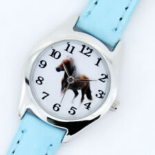 New Fashion Children Leather Horse Boy Girl Quartz Animal Cartoon Wristwatch U11
