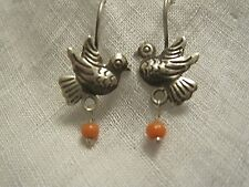 TINY SILVER BIRD EARRINGS FRIDA KAHLO TURQUOISE or CORAL TAXCO MEXICO DELICATE