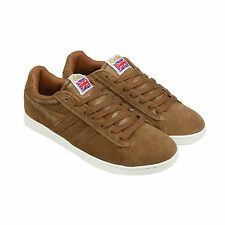Gola Equipe Suede Mens White Suede Sneakers Lace Up Shoes