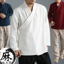 Mens Fashion Casual Blouse Gown Shirt loose Chinese style Tops Linen kimono New