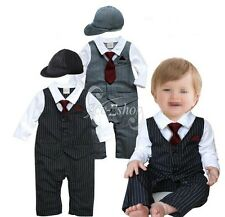 Baby Boy Fancy Wedding Formal Gentleman Tuxedo Suit Stripe Romper Outfit+Hat Set