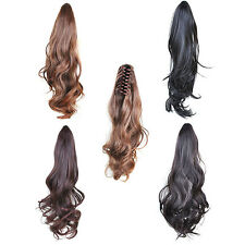 45cm Long Heat Resistant Cosplay Claw Clip Synthetic Curly Ponytail Wig Hair