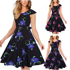 Vintage Style 50s 60s Housewife Rockabilly Floral Swing Prom Evening Party Dress