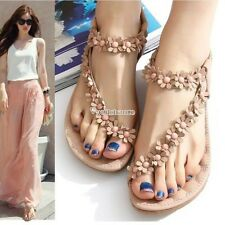 Wome Girls New Bohemia Flower Beads Flip-flop Shoes Flat Sandals W3LE01