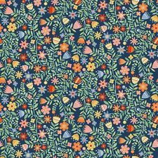Spring Meadow Brightly Coloured Floral Flowers 100% Cotton Fabric (Makower)