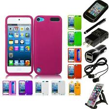For Apple iPod Touch 5th 6th Gen Silicone Skin Soft Rubber Case Cover Bundle