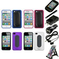 For Apple iPhone 4/4S Hybrid Toungue Kickstand Impact Case Cover Accessories