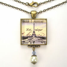 "PARIS FRANCE EIFFEL TOWER ""VINTAGE CHARM"" BRONZE OR SILVER ART PENDANT NECKLACE"