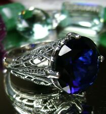 7ct Round *Sapphire* Solid Sterling Silver Deco Filigree Ring {Made To Order}