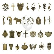 2-35pcs Antique Brass Pendant Charms Supplies Jewelry Findings 30 Style Lots HC