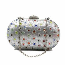 New Crystal Flower Beaded Evening Bag Women Oval Shaped Clutch Wedding Bags