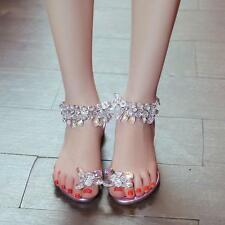 Womens Flat strap Rhinestone thongs Sandals Flip Flops Summer Buckle Slingbacks