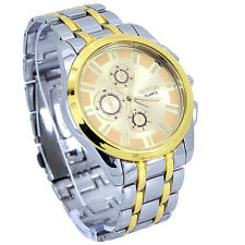 New Luxury Gold Man Stainless Steel Hours White Gold Analog WristWatch NG17