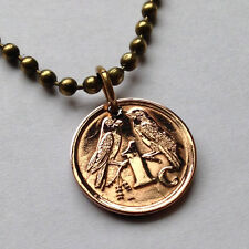 South Africa Farthing coin pendant LOVE BIRDS necklace Cape Sparrows n000215