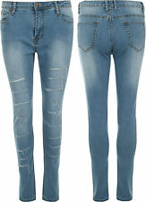 Womens Skinny Leg Stretch Stonewashed Hipster Ripped Ladies Denim Jeans 6-14