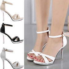 Women Sexy High Heels Strappy Ankle Wrap Sandals Cross Tied Sandals Shoes New G