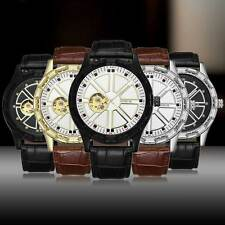 Luxury Automatic Mechanical Wrist Watch Black Brown Leather Mens Gift Skeleton