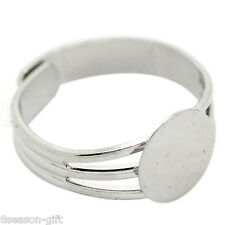 Wholesale Lots HX Silver Tone Copper Adjustable Ring Blank Pad Base 18.3mm US8