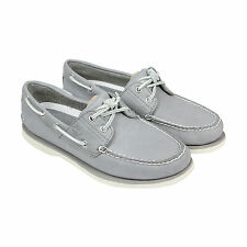 Timberland 2 Eye Boat Mens Grey Leather Casual Dress Lace Up Boat Shoes Shoes