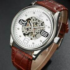 Mechanical Leather Skeleton Wrist Automatic Watch Roman Dial Mens Gift Bronze