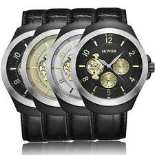 Tourbillon Leather Mechanical Automatic Wrist Watch Stainless Steel Mens Gift