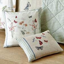 Country Cottage Cushion With Floral Bird & Butterfly In Neutral Cream & Green